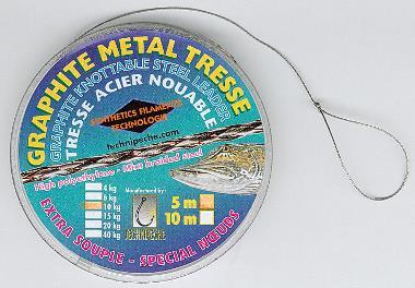 Graphite Metal tresse ideale onderlijn voor de snoekbaarsvisserij.