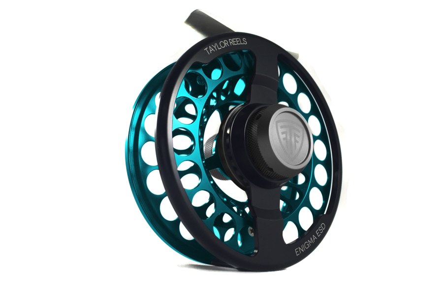 Taylor Enigma ESD Fly Reel Teal Bleu Front Angle