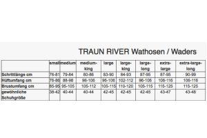 traun river neopren wader superior size table